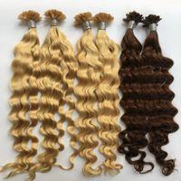 Индийский волос девственницы 0.8g / нитка 200strands Nail Tip / U Совет кератин Fusion завитые человеческие волосы