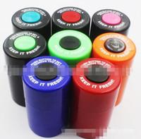 Lo nuevo plástico redondo cuadro titular Recipiente de píldoras caso de almacenamiento de agua de tabaco Latas convenientes Stash 6 colores 59 * 105 mm Venta