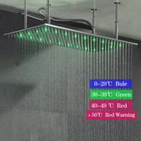 Soffione doccia a LED a tre colori con montaggio a soffitto 400x800 / 500x1000 Spruzzatore a testa rettangolare con doccia a pioggia