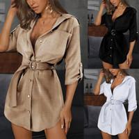 Bayan Ince Seksi Gömlek Elbise Yaz Kadın Katı Renk OL Kemer Yaka Boyun Elbiseler Kadın Moda Rahat Giysiler