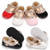 아기 소녀 패션 리벳 공주 아이 신발 귀여운 유아 메리 제인 첫 번째 워커 아기 신발 4 색 3 사이즈 0-1T Chaussures enfants by1488