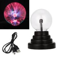 3インチクリスタルプラズママジックボールUSB静電気球地球ライト5W LEDムーンナイトライト電池タッチ電球ランプ子供ギフト