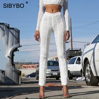 Sibybo Mesh Pleated High Waist Sexy Pants Women Fashion Stre...