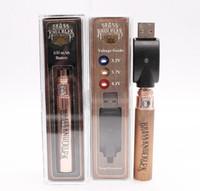 Аккумуляторная латунная регулируемая батарея 650mAh 900mAh Gold Wood Регулируемое напряжение Vape Pen для подключенных картриджей Abracadabra переменная DHL БЕСПЛАТНО