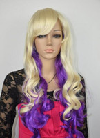 FREE SHIPPING+ + + beautiful bangs blonde mix Purple long wa...