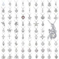 Liebe Wunsch Perle Käfig Anhänger Halsketten Hohl Natürliche Perle mit Austern Perlenkäfige Charm Silber Ketten Für Frauen Modeschmuck in der Masse