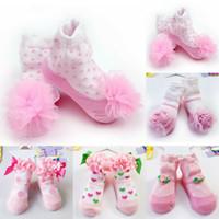 NUEVA recién nacido niña de la princesa del cordón Flores niño infantil suaves calcetines de algodón