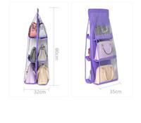 7 ألوان الرئيسية 6 جيوب حقيبة يد محفظة حقيبة التخزين شنقا كتب منظم خزانة خزانة شماعات مزدوجة من جانب EEA1419-3 شفاف طوي