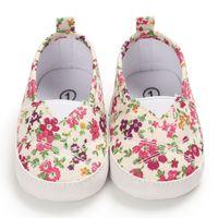 Frühlings-Herbst-Mädchen-Segeltuch-Schuh-Baby-erste Wanderer-Blumen-Druck weiche Unterseite Kleinkind-Schuhe Säuglingsbaby-SHLO98