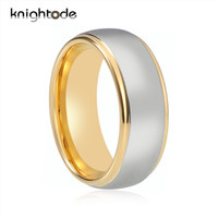 8mm 6mm Fashion Ring Tungsten Carbide Wedding Ring Step Gold Band Polishing Center For Men Women Jewelry J190715