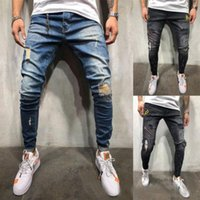 2019 Fashion Men´s Stretchy Ripped Skinny Biker Jeans Destro...