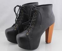Kadın Gerçek Deri Jeffrey Lita Boots Campbell Platformu Fahion Popüler Lita Topuklar Bilek Boots Ayakkabı Dantel-up