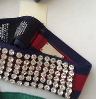 2019 엘라스틱 스트라이프 풀 크리스탈 모조 다이아몬드 헤드 밴드 활주로 머리 장식 녹색 및 빨강 스트랩 투명 크리스탈 포장 여성 파티 결혼식 칵테일
