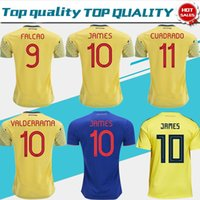 2019 Colombie maillot de football Colombie Accueil maillot de foot jaune 2018 # 10 JAMES # 9 FALCAO # 11 CUADRADO Uniforme de football Thaïlandais bleu