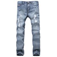 Jean Pantolon Yırtılmış Moda Marka Tasarımcısı Erkek Yırtık Kot Pantolon Açık Mavi Slim Fit Sıkıntılı Denim Koşucular Erkek Artı boyutu 42