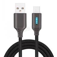 Inteligente inteligente USB LED de aleación de zinc cable trenzado de nylon raya 2.1A de carga rápida Micro USB tipo C cable cargador Cable para LG Huawei Samsung