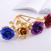 Golden Rose 24K Altın Folyo Yapay Güller Folyo Kaplama Romantik Çiçek Düğün Şenlikli Parti Favor 5 Renk Opsiyonel LQP-YW2778