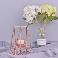 2pcs / комплект Nordic Стиль Кованые Геометрическая Подсвечники Домашнее украшение Металлические изделия розовое золото Подсвечники