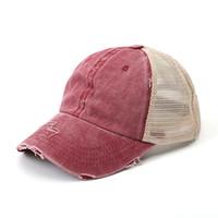 Berretto da baseball solido regolabile denim usurato Trucker Snapback Coda di cavallo Cappello del parasole del lavabile tappo 7 colori LJJK2033-1
