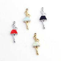 120 pc / lot 에나멜 발레 댄서 매력 팔찌 귀걸이 쥬얼리 제작 33 * 12mm 4 색을위한 펜던트