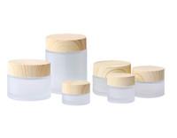 Buzlu cam kavanoz krem şişeleri Yuvarlak kozmetik kavanoz El yüz Ambalaj şişeleri 5G 10g 15g 30g 50g 100g kavanoz ahşap tahıl kapak ile