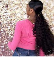 Lange schwarze Haare Weave Pferdeschwanz-Frisur-Clip-Clip in / auf Niedrig schlank Easy Cordring Human Hair Ponytail Haarteil Frauen Ersatzerweiterung140g