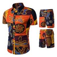 M-5XL 2020 قمصان Sportsuits الرجال الكتان الصيف 2PC تنفس قصيرة مجموعة رجال تصميم الأزياء + شورت رياضية تعيين الإمالة ستايل