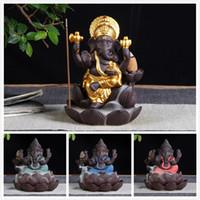 4 cores novo cerâmico ganesha elefante deus buddha estátuas backflow incensor incensário incenso home escritório incenso cones