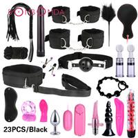 Sex Shop Vibrador para Mulheres Clitóris Estimular BDSM Bondage Set Sex Toy Para Casais Anal Dildo Ligue Penis vibratório Ring For Men MX191228