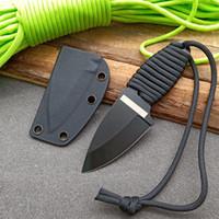 Qualitäts-im Freien Fxied Blatt Tauchermesser 8Cr13 Black Blade voller Zapfen Parcord Griff Halskette Messer mit Kydex