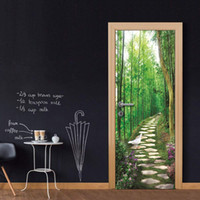 3D Vinyl Door Mural Poster Forest Stone Lane Wall Sticker Decal Art Decor Rimovibile Murale carta da parati porta economica