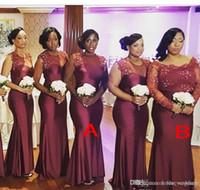 2019 Yaz İlkbahar Gelinlik Giydirme Burgonya Afrika Nijerya Country Garden Düğün Misafir Maid of Honor Elbise Plus Size Custom Made