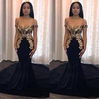 Vestidos de fiesta de la sirena negra vestidos 2019 con apliques de oro elegante fuera de hombro largo africano personalizado vestido de noche