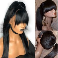 Full Lace Human Hair Wigs With Bangs Pre Plucked Bleached Kn...