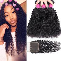 9A Brésilien Curly Vierge cheveux 3 Bundles avec dentelle Fermeture libre ou Moyen Partie brésilienne Kinky Curly Vierge Cheveux bouclés Brésilien Cheveux