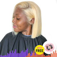 13x6 613 Blonde Brazilian Straight Human Hair Bob Wigs 8 - 1...