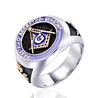 Фиолетовый Эмаль масонство AG перстни Лучшие Titanium стальные кольца ювелирные изделия способа Прополка Обручальное Anniversary Party Подарки