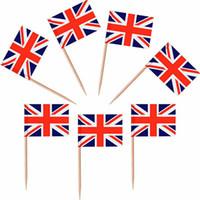 5000 stuks UK Vlag Tandenstoker Partys Nation Cocktail Stick Hout Buffet Cup Cake Sandwich Vlag Sticks BBQ-jubilea's Verenigd Koninkrijk