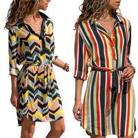 Çizgili Şifon Elbise 2019 Yaz A-line Floar Boho Plaj Elbiseler Kadınlar Uzun Kollu Büro Gömlek Elbise Mini Parti Elbise vestidos yazdır