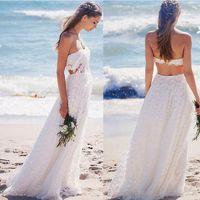 Playa sin respaldo vestidos de novia sin tirantes 2019 una línea de encaje vestidos de novia por encargo estilo occidental verano Vestidos De Novia