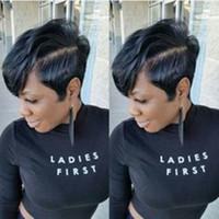100٪ الشعر البشري بيكس الجانب الجزء قليلا الرباط الجبهة الباروكات للنساء السود الطبيعي أسود قصير عابث قطع الباروكة