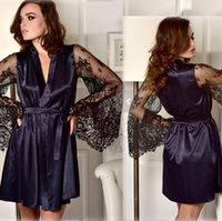 Sexy Frauen neue reizvolle Wäsche Silk Spitze-Schwarz-Kimono Intimate Sleepwearrobe Nachtkleid lose Frau Bademäntel