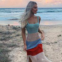 Mittlere Waden Mode Kleidung Drei Farben Lässige Kleidung der Frauen-Sommer-Strand-Riemen Sitzen Kleider Kontrast Riemen ärmellosen