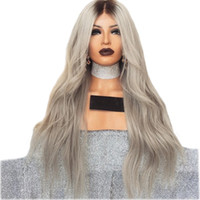 Body Wave Lace Front Long Wigs High Temperature Fibers Middl...