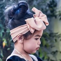 Büyük Ilmek Kafa Bantlar Için Bebek Kız Büyük Yay Çocuklar Headwraps Türban Katı Şapkalar Moda Streç Bebek Yenidoğan Hairband Saç Aksesuarları