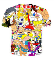 Nueva historieta de la manera Caracteres 90s camisetas de los hombres la ropa de moda de impresión en 3D Hombres Mujeres Harajuku Estilo de Calle Tops EL043