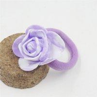 10pcs / lot bonito do estilo chinês Bandas Rose flor de cabelo elásticos para Tie menina artesanal cabelo Scrunchy Kid cabelo acessórios para mulheres