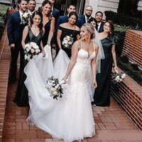 Available Mermaid Tulle Spaghetti Wedding Dress with Appliques Vestidos Custom Made Bohemian Bridal Party Gowns Cheap .