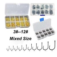 100 piezas / caja de acero de alto carbono oro / plata pesca de la carpa de cebo 10 tamaños mezclados 3 # -12 # afilado Ultrapoint Juego de ganchos de pesca