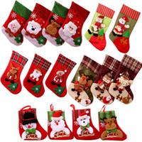 24 styles Mini Christmas Hanging Socks stockings Cute Christmas Candy Gift bag santa claus deer bear Christmas Tree hanging Decors ornaments